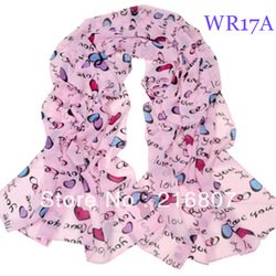 Free Shipping 2PCs Fashion Ladies Lightweight Thin Chiffon Graffiti Letters Peach Heart Rectangle Scarf(China (Mainland))