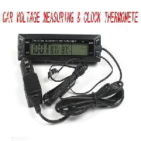 Black Digital LCD Clock in/out CAR Thermometer Time Clock Voltage Monitor Meter