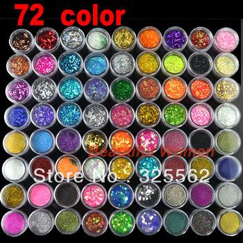 Free shipping New 72 Pots 6 Kinds of Nail Glitter Powder Art Decoration Crush Shell Bead  2435