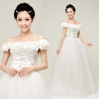 YHZ2012 new bride wedding dress Korean version of sweet princess wedding Korean word the shoulder wedding