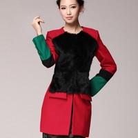 2012 autumn and winter fashion py-29879 2012 fashion high quality rabbit fur color block decoration overcoat