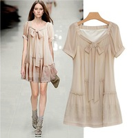 2013 New Sweet Chiffon Short Sleeves Bow Slim Look Fat Women Dress Plus Size XXL Pink
