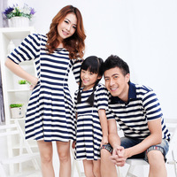 Family fashion summer 2013 clothes for mother and daughter clothes for mother and son family pack stripe short-sleeve dress the
