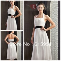 Unique design halter neckline black ribbon sash knee length A-line fashion patterns for bridesmaid dress JY712