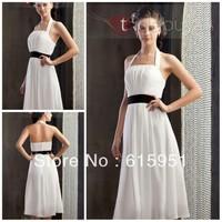 Unique design halter neckline black ribbon sash knee length A-line fashion patterns for bridesmaid dress JY712