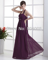 Ruffle Chiffon Shoulder Straps Floor Length Bridesmaid Dress Gown fress shipping