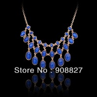 Min.order is $15 (mix order),Fashion New Elegant Alloy Dark Blue Bubble Bib Statement Necklace,Choker Necklace,Free Shipping