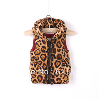 Free Shipping 5 Pieces / lot Girls New Leopard Print Cotton Vest,brand quality Girl Winter Waistcoat in stock