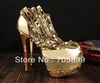 Free shipping 2013 sandals gold studded platform high heel pumps women sexy heels spikes diamond wedding shoes