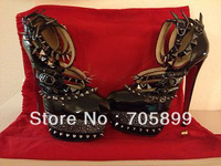 Free shipping 2013 sandals black studded platform high heel pumps women sexy heels spikes sandal crystal wedding shoes