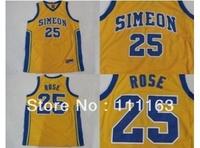 Wholesale-Simeon high school Derrick Rose #25 Yellow College Basketball Jersey Size:48~56+Mix Order