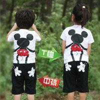 MICKEY 2pcs fashion summer short-sleeve T-shirt +pants set  pack parent-child shirt pants set children clothes set kids wear