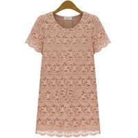 Orangeflower2013 summer women's cutout basic shirt short-sleeve lace chiffon shirt top female