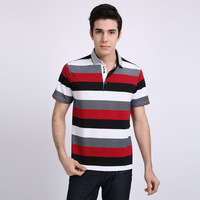 T-shirt 2013 men's summer clothing male business casual thin stripe short-sleeve turn-down collar cotton t-shirt