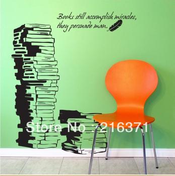 Free shipping DIY Book bookshelf popular sofa tv background window wall stickers wallpaper I Love Book