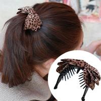 Free Shipping 2013 New Fashion Leopard Print Fabric Bow Hair Claw
