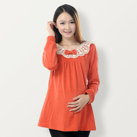 Free Shipping Fashion maternity clothing long-sleeve top t-shirt sweater shirt basic nursing clothing autumn and winter