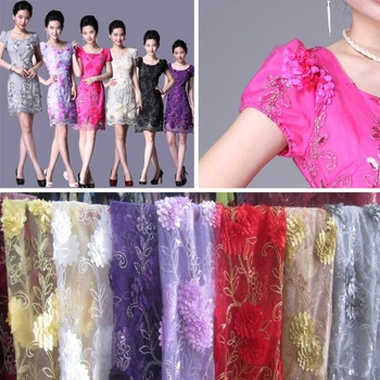 women lace Gold silver silk type dimensional dribbling embroidered fabrics widely informs skirt BYHG011 home decoration