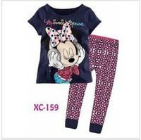 Free shipping 15th march, 6sets/lot, boy & girls long sleeve t shirts & pants, minnie, children pyjamas, baby pajamas, XC159