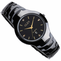 Glen glen ceramic mens watch ceramic watch lovers table waterproof male watch black and white