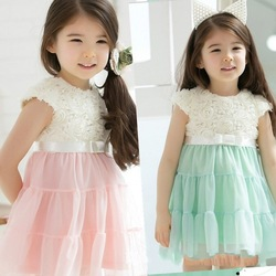 EMS DHL Free shipping Toddler girls Elegant Little Girls Pink Green Rose Petals Princess Easter Holiday Party Dress(China (Mainland))