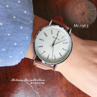 New arrival mr1963 the trend of fashion male table vintage high quality genuine leather mens watch pointer quartz watch