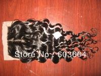 "Top Closure Brazilian Silk Base Closure Loose Wave 12"" #1b Lace Closure(4""*4"")--Human Hair Closure Piece"