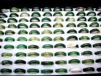 Wholesale 100pcs Charming Green Agate Rings Fashion Jewelry