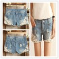 2013Free Shipping Fashion Korean Style Sweet Lace Embellished Denim Shorts Blue , Fashion Women's Shorts d989908