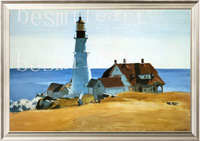 museum quality handpainted oil painting  ,famous reproduction or  replica  lighthouse porthead by Edward Hopper  artist