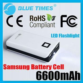 Universal Dual USB 6600mAh Power Bank Battery for Mobile Phone Smartphone iPhone iPad Samsung HTC MOTO with LED Flashlight
