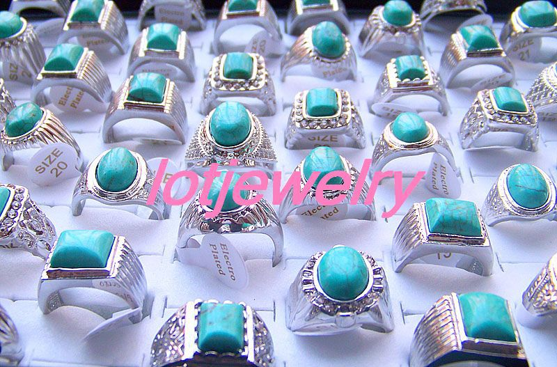 wholesale 50pcs COOL turquoise MEN'S rhinestone rings(China (Mainland))