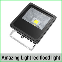 50W LED Floodlight 5000-5500lm IP65 CRI&gt;80 BridgeLux COB Chip,tempered glass&amp; Aluminum shell, 2 years warranty
