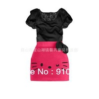 2013 latest kids dress, baby& girl Kitty Lace dress 5 size ,Free shipping 5pcs/lot