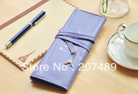 sweet color tower PU leather Pencil pen Case Pocket organizer storage Makeup cosmetic stationery bag whcn+