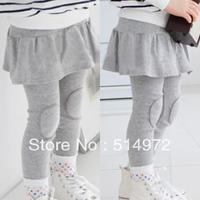 Best selling!!lotus leaf patch girls leggings pure cotton kids pantskirt child divided skirt free shipping