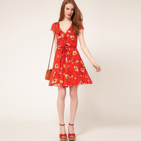 2013 women's new summer romantic V-neck short-sleeved dress 9225,Free Shipping!!