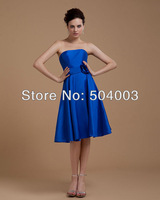 Hot Sale Popular Satin Manual Flower Sweetheart-Neck Sleeveless Bridesmaid Dresses fress shipping
