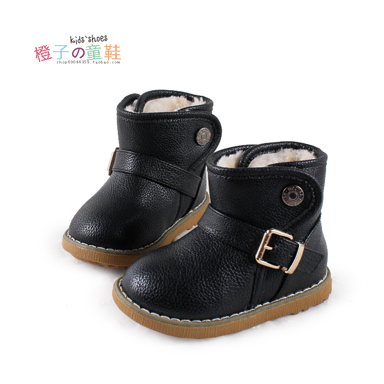 2012 child winter warm shoes snaps baby snow boots leather boots all-match male child boots(China (Mainland))