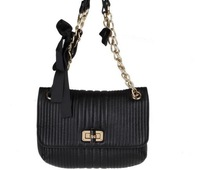 Free shipping!2013 New Arrival Fashion Designer Genuine Leather Shoulder Bag For Women With Bow Black Color