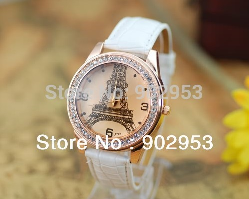 50pcs/ lot ROMA fashion diamond watch header Iron tower Cow leather watches round dial quartz watch for women men hotting sale(China (Mainland))