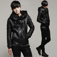Autumn and winter new arrival men's clothing leather clothing Men male leather clothing short design with a hood leather jacket