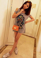 Lady 2013 spring and summer grey print strapless shirt female t