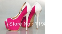 Hot sell sexy style thick platform peep toe ankle strap genuine leather high thin heel dress shoes for women