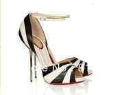 14cm summer daffodile  thin heel  pumps peep toe ankle strip high heel fashion  sandals for women