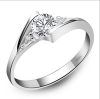 2013 Hot Austria Crystal Rings For Women  925 Sterling Silver Plated Rings   With Zircon Dont Loss Color