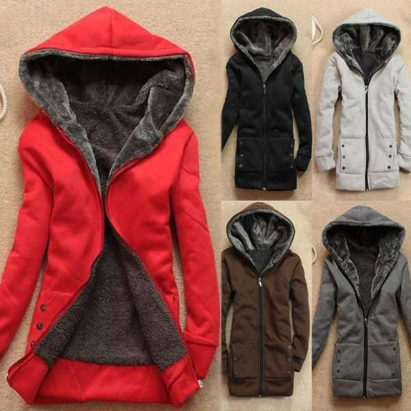 Wholesale Cute Korean Hoodie Fleeces TOP Coat Women Lady Outerwear Autumn Winter Surcoat red gray coffee one size free shipping(China (Mainland))