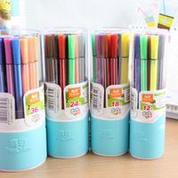 Free Shipping Water color pen, Drawing pen, Kids study,  for Office supplies, 12/18 / 24 colors pcs / Barrel (6 Barrels/Lot)