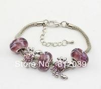 Hot sale 6pcs Wholesale Bohemia handmade Fashion lampwork murano Glass beads European charms snake Chain Bracelet bangle jewelry