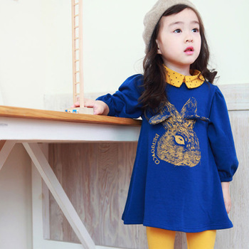 Female child 2013 spring and autumn cartoon 100% cotton rabbit twinset legging child long-sleeve dress